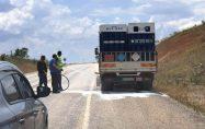 Tüp yüklü kamyonu inşaat mikseri kurtardı