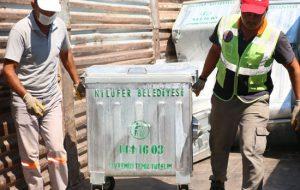 Bayramiç Belediyesi'ne kardeşinden konteyner desteği