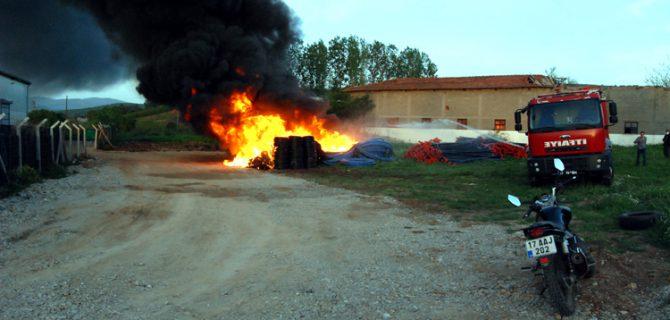 Tarım aletleri deposunda yangın