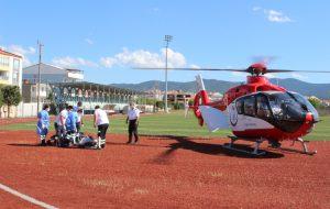 Hastayı  helikopterle götürdüler